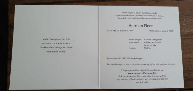 Rouwkaart Herman Fleer
